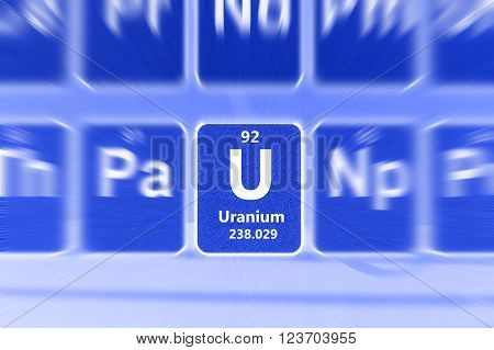 Symbol of radioactive Uranium chemical element on the periodic table of elements. Motion effect.