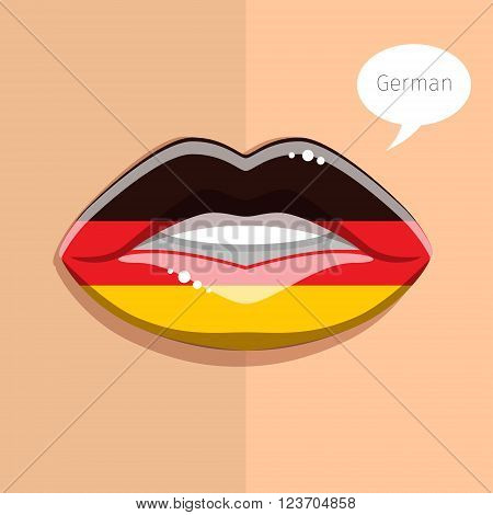 German language concept. Glamour lips with make-up of the  German flag, woman face. Flat design, vector illustration.