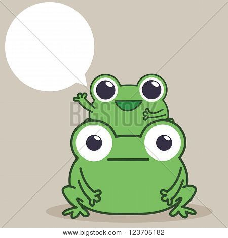 Duo frog say hello , two frogs and speech bubble