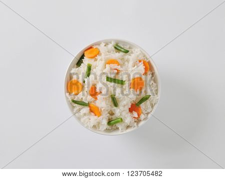 Bowl of Jasmine rice with carrot and string beans