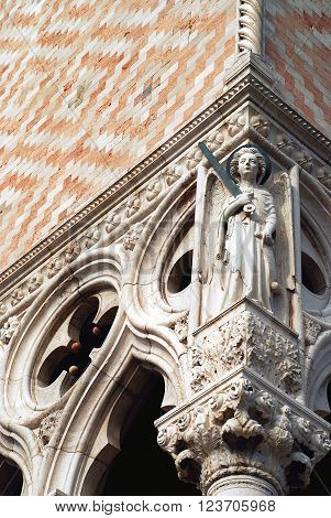 Venice Doge's Palace detail of archangel Michael