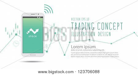 Illustration vector stock trading over the Internet with a mobile phone banner.
