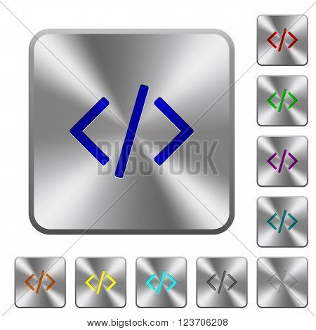 Engraved programming code icons on rounded square steel buttons