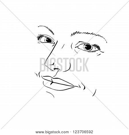 Monochrome Silhouette Of Peaceful Attractive Lady, Face Features. Hand-drawn Vector Illustration Of