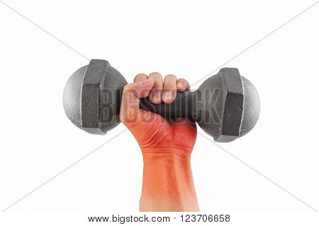 Left hand got pain on wrist holding a retro dumbbell isolated on white background