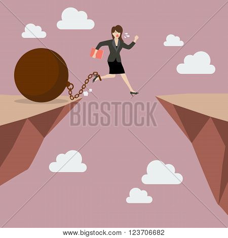 Business woman jumps the abyss with the weight. Business concept