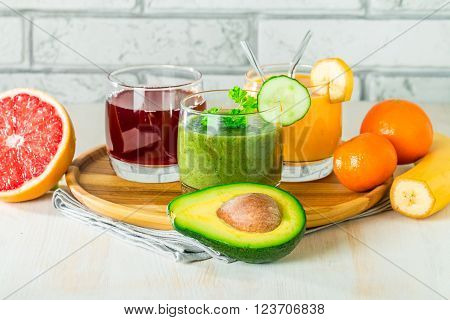 Green, Yellow And Red Beverages