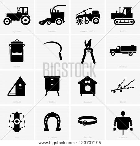 Set of farm objects ( shade pictures )