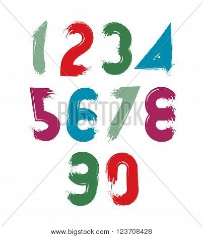Multicolored handwritten numbers vector doodle brushed figures hand-painted set of numbers with brushstrokes.