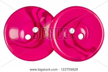Pink Plastic buttons isolated on white with Clipping Path