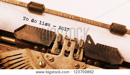Vintage Typewriter  - To Do List 2017