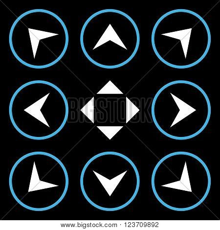 Circled Arrowheads vector icon set. Collection style is bicolor blue and white flat symbols on a black background. Circled Arrowheads icons.