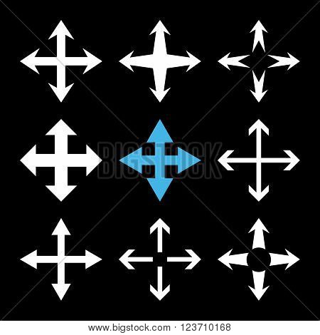 Expand Arrows vector icon set. Collection style is bicolor blue and white flat symbols on a black background. Expand Arrows icons.