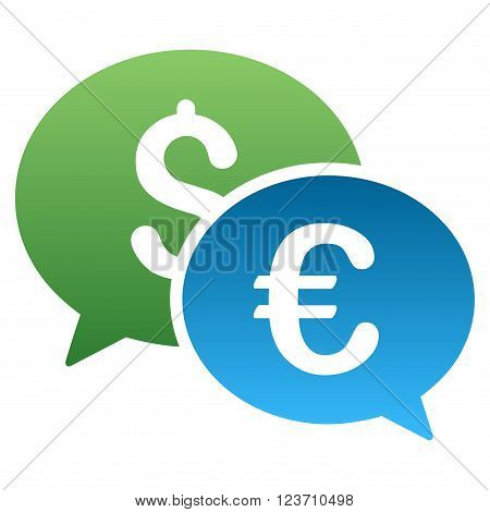 Euro Dollar Transaction Chat vector toolbar icon for software design. Style is a gradient icon symbol on a white background.