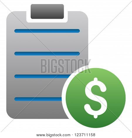 Price List vector toolbar icon for software design. Style is a gradient icon symbol on a white background.
