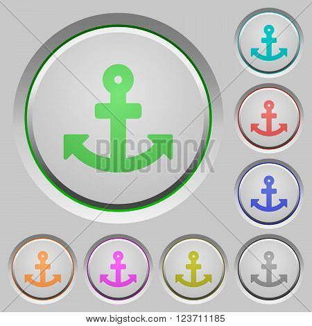 Set of color anchor sunk push buttons.