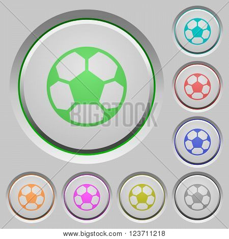 Set of color soccer ball sunk push buttons.