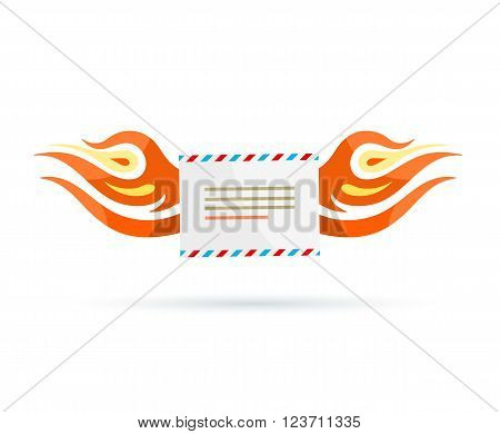 Icon delivery. Envelope fire design. Free delivery icon, letter mail, burning envelope, communication fast, urgent hurry, send or receive letter delivery vector illustration