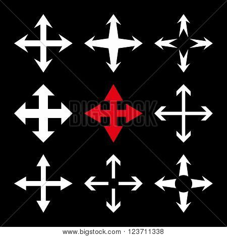 Expand Arrows vector icon set. Collection style is bicolor red and white flat symbols on a black background. Expand Arrows icons.