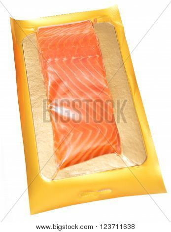 packed smoked red fish isolated on white background