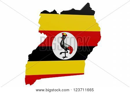 Map of Uganda in the colors of the national flag