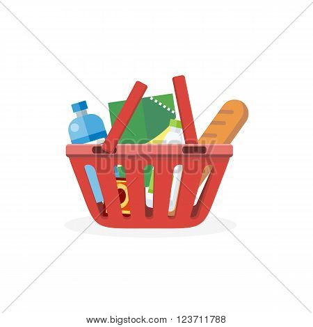 Shopping cart with food design flat. Food and shopping cart icon, shopping bag basket, buy icon, supermarket shop cart, basket cart, commerce purchase grocery vector illustration