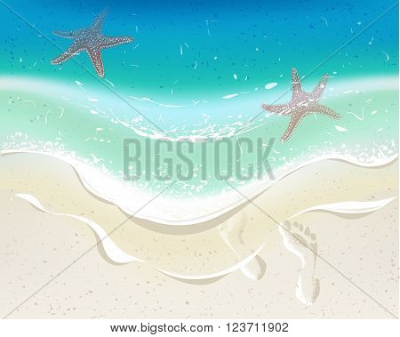 Sea wave on a tropical beach. Footprints on sand. Background for summer time holiday design.
