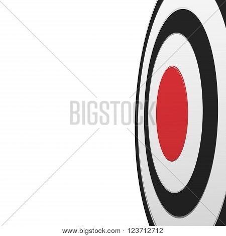 Close-up and from one side view of black round target with red center isolated