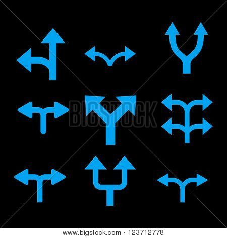 Divide Arrows vector icon set. Collection style is blue flat symbols on a black background. Divide Arrows icons.