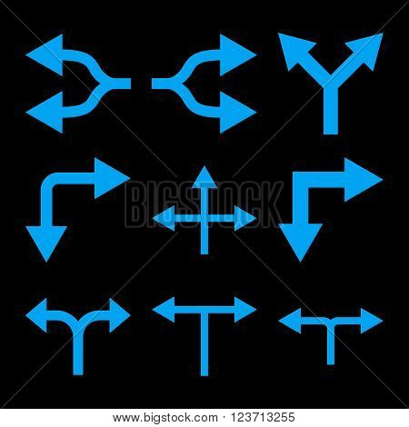 Junction Arrows vector icon set. Collection style is blue flat symbols on a black background. Junction Arrows icons.