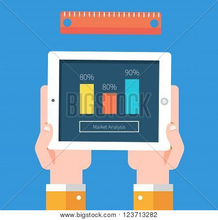 Analysis of actions infographic. Analytics and analysis icon, analyze and business analysis, research data strategy business, plan web, idea marketing seo. Hands with tablet graph, charts
