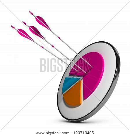 Target with pie chart and three arrows hitting the most important slice. 3D illustration over white background. Concept of market share gain or successful markets penetration.