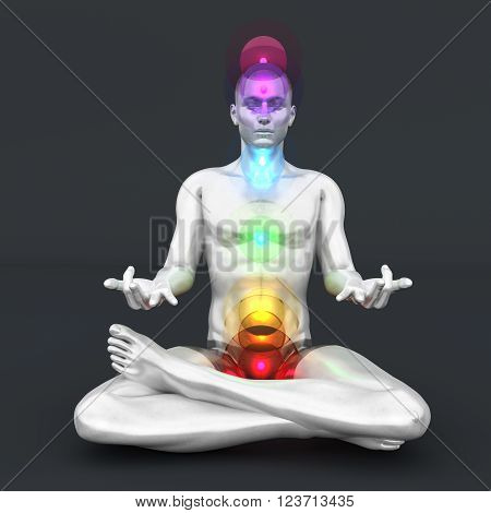 A man performing a full chakra meditation. 3D rendered illustration.