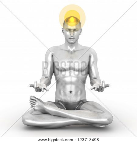 A woman performing a Sahasrara chakra meditation. 3D rendered illustration.