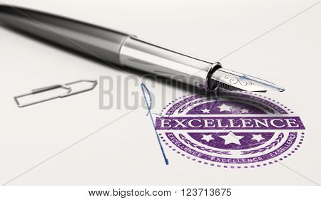 Excellence mark imprinted on a paper texture with signature and fountain pen. Concept image of personnal success and excellent business service. 3D illustration.