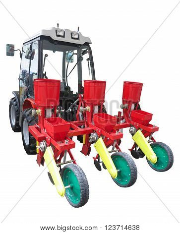Red Agricultural Seeding Machine On Tractor Isolated Over White