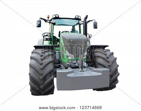 New Green Powerful Tractor Isolated Over White