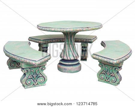 Decorated Stone Garden Furniture Table And Chairs Isolated Over White