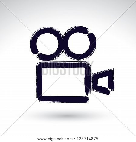 Realistic ink hand drawn vector video camera icon simple hand-painted camera symbol isolated on white background.