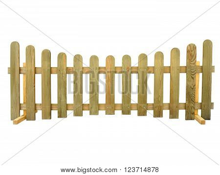 Wooden Fence Isolated Over The White