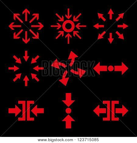 Compress and Explode Arrows vector icon set. Collection style is red flat symbols on a black background. Compress And Explode Arrows icons.