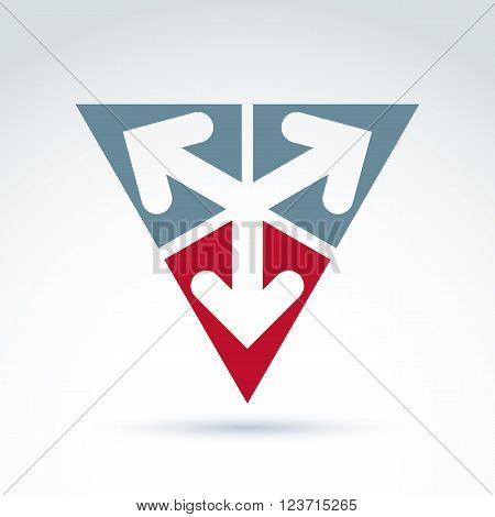 Vector abstract emblem with three multidirectional arrows placed in isosceles triangles. Conceptual corporate symbol pyramid icon.
