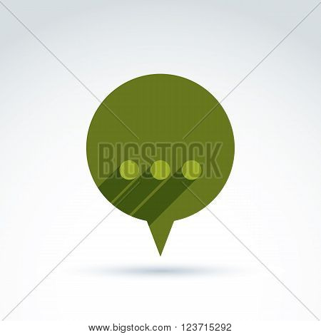 Ellipsis punctuation analyze and conversation symbol text message concept. Vector green speech bubble with dots.