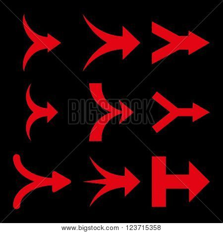 Join Arrows Right vector icon set. Collection style is red flat symbols on a black background. Join Arrows Right icons.