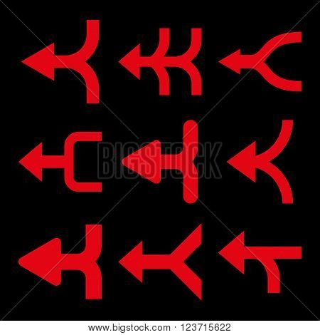 Merge Arrows Left vector icon set. Collection style is red flat symbols on a black background. Merge Arrows Left icons.