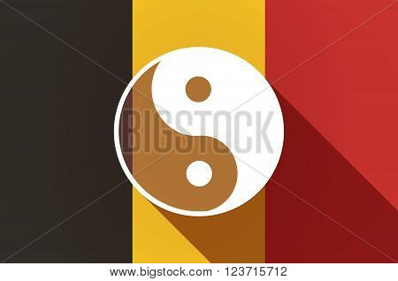 Long Shadow Belgium Flag With A Ying Yang