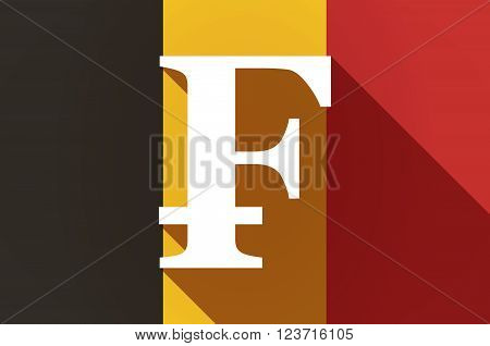 Long Shadow Belgium Flag With A Swiss Franc Sign