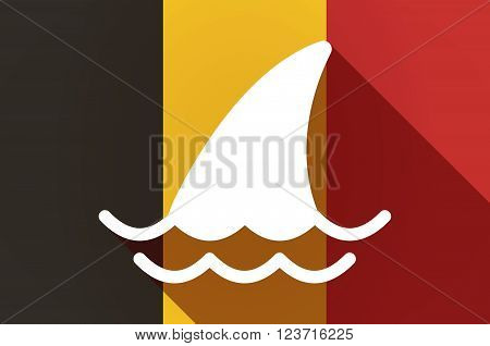 Long Shadow Belgium Flag With A Shark Fin