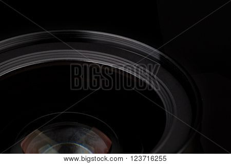 Close up of Lens over black background