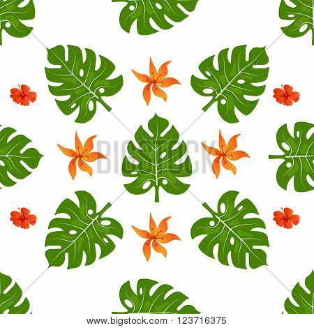 Summer tropical background seamless pattern of palm leaves and flowers. Summer colorful hawaiian backround.